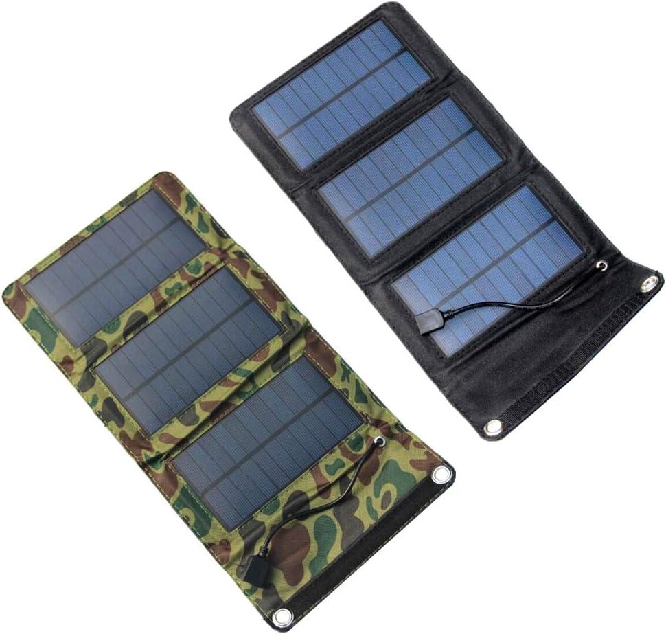 LIOOBO Cargador de Panel Solar Plegable 5W Port/átil Impermeable Cargador de bater/ía accionado Solar 5V Salida USB Cargador accionado Solar