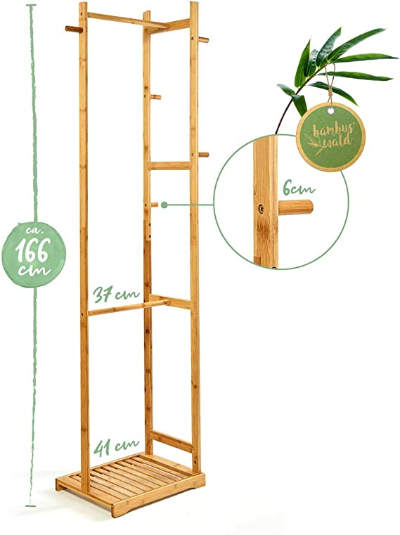 Round 173x54,5x36cm Scarves /& Accessories Hooks /& Wheels Portable Germent Rack With Lower Shoe Shelf| Eco Friendly Coat Stand For Handbag Hat bambuswald/© Bamboo Clothes Rack With Hanging Rail