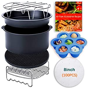 XL 8Inch Air Fryer Accessories,Phillips Air Fryer Accessories and Gowise Air Fryer Accessories Fit all 4.3QT-5.3QT,8PCS