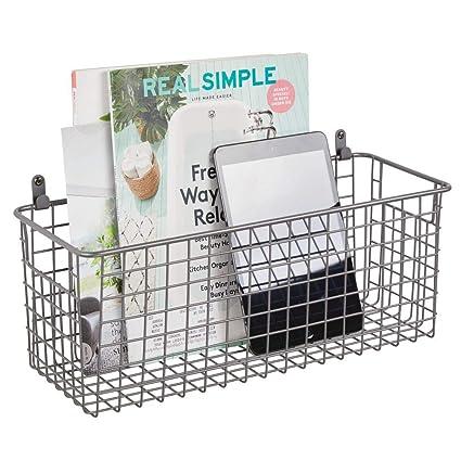 82182e906da mDesign Hanging Storage Basket - Medium Size Wall-Mounted Metal Wire Basket  - Multi-Purpose Organiser Tray for Household Items - Graphite Grey  ...