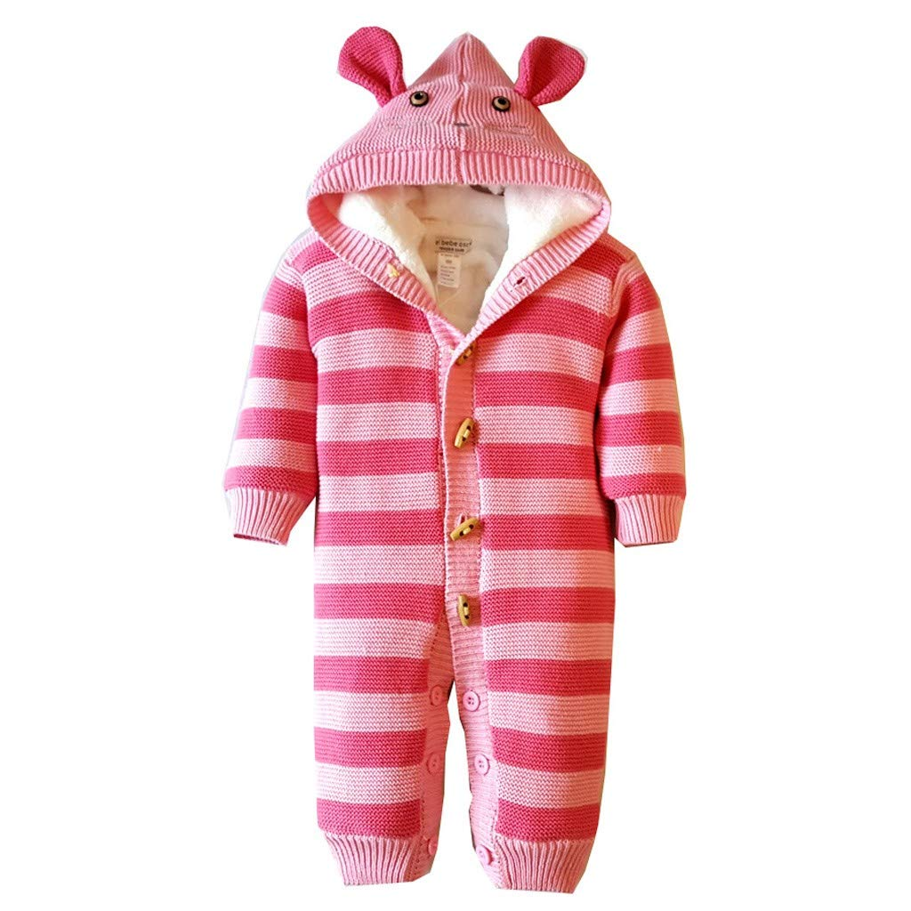 Winter Knitted Thicken Romper, Gallity Newborn Infant Baby Boy Girl Hooded Jumpsuit Snowsuit Warm Fleece Hoodie Outfits (6-12 Months, Pink) by Gallity Baby Clothes