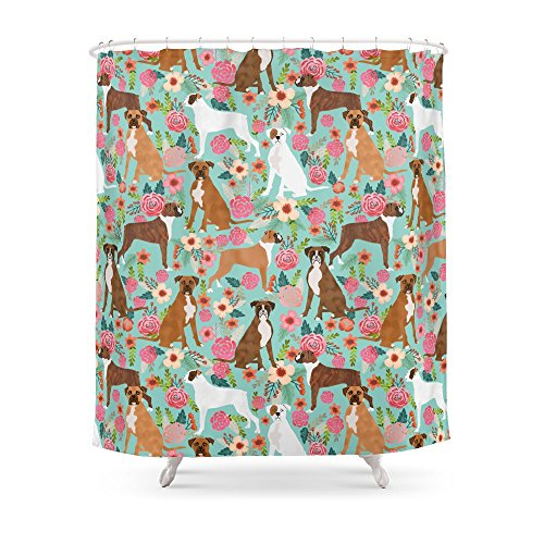 Boxer Dog Mint (Society6 Boxer Dog Breed Florals Mint Pastel Turquoise Cute Pet Portrait Animal Fur Baby Must Have Gifts Shower Curtain 71