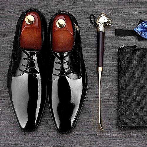 Scarpe Uomo In Pelle Business Formale Indossare Nozze Degli Uomini Di Brillante Primavera Stile Britannico Singolo Maschio Colore Nero Dimensioni Eu40 uk