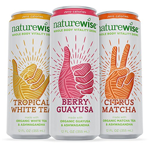 NatureWise Whole Body Vitality Drinks Reduce Stress, Enhance Focus, and Suppress Cravings. Sparkling Organic Tea and Ashwagandha, 0 Sugar, 0 Calories
