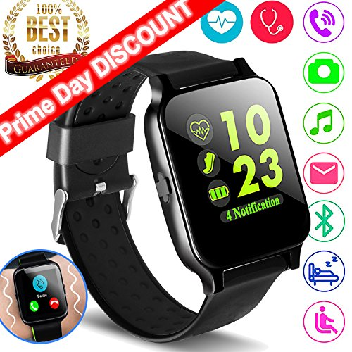 New Version Sport Fitness Tracker Smart Watch Phone for Father Day Men Women with Heart Rate Monitor Blood Pressure, Activity Tracker Pedometer Health Monitor Summer Oudoor Swim Run Wearable (Pressure Recorder)