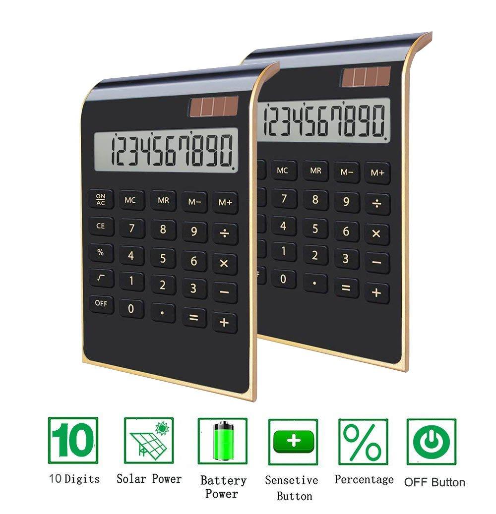 Office Calculator,BESTWYA 12-Digit Dual Power Business Handheld Desktop Calculator for Office Student (New Black,Pack of 2)