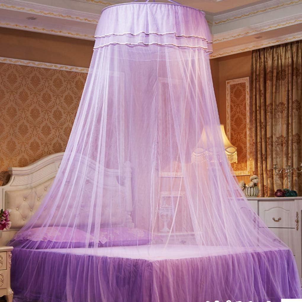 Meisijia Rund doppelte Spitze Vorhang Dome-Bett-/Überdachung Princess Moskitonetz mit leuchtendem Schmetterlinge