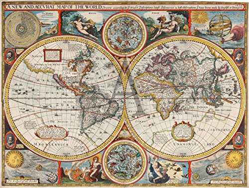 (Home Comforts Peel-n-Stick Poster of Map of World Map from 1626 Showing.Discoveries ty Have beene Made by English or Strangers Poster 24x16 Adhesive Sticker Poster Print)