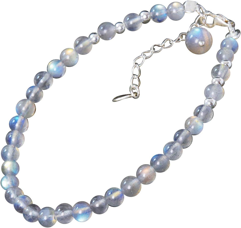NicoWerk Pulsera de plata de ley 925 para mujer, provista de bolas de piedra lunar, incluye cadena de extensión y paquete de regalo SAB141