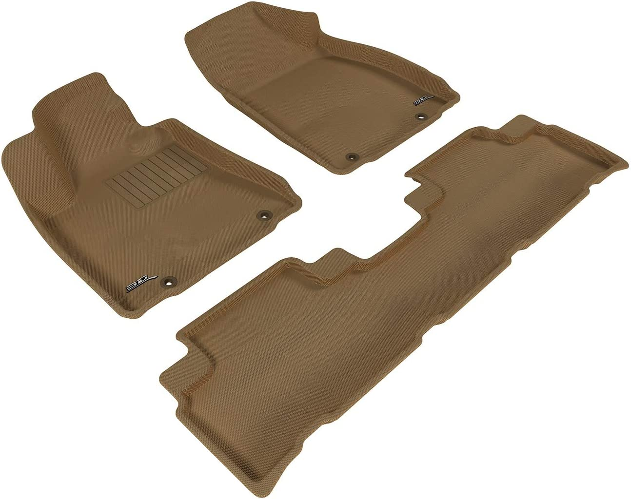 3D MAXpider Complete Set Custom Fit All-Weather Floor Mat for Select Lexus RX350//450H Models Kagu Rubber Tan