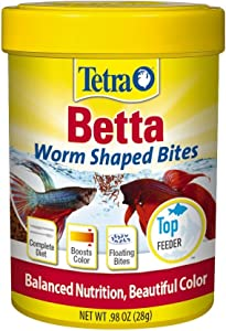 Tetra BettaMin Worm Shaped Bites 0.98 Ounce, Complete Diet For Bettas