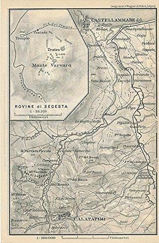 Castellammare to Calatafimi Italy 1903 original antique lithograph map