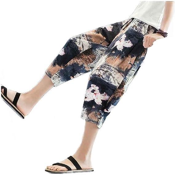 Kankanluck Men Thin Harem 3/4 Pants Summer Chinese Style Wide Leg Pants