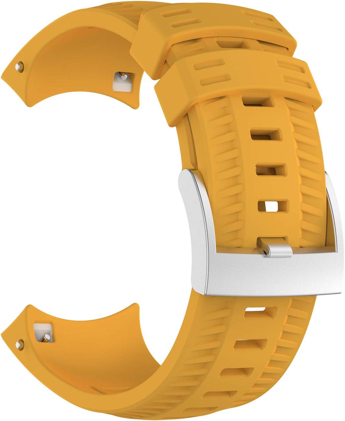 KOMI Correa de reloj compatible con Suunto 9, silicona suave para deportes de repuesto (amarillo)