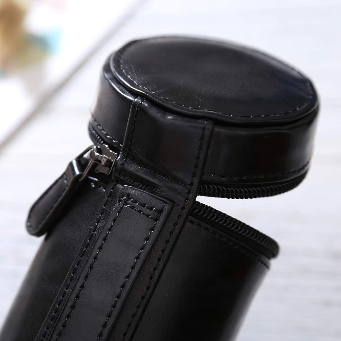 Color : Black HoodensYHM Small Lens Case Zippered PU Leather Pouch Box for DSLR Camera Lens Size: 11x8x8cm Black