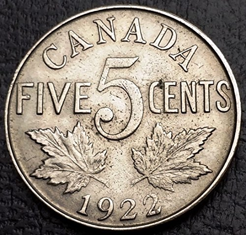 Unbranded 1922 Canada 5 Cents Nickel COINEF+ Condition