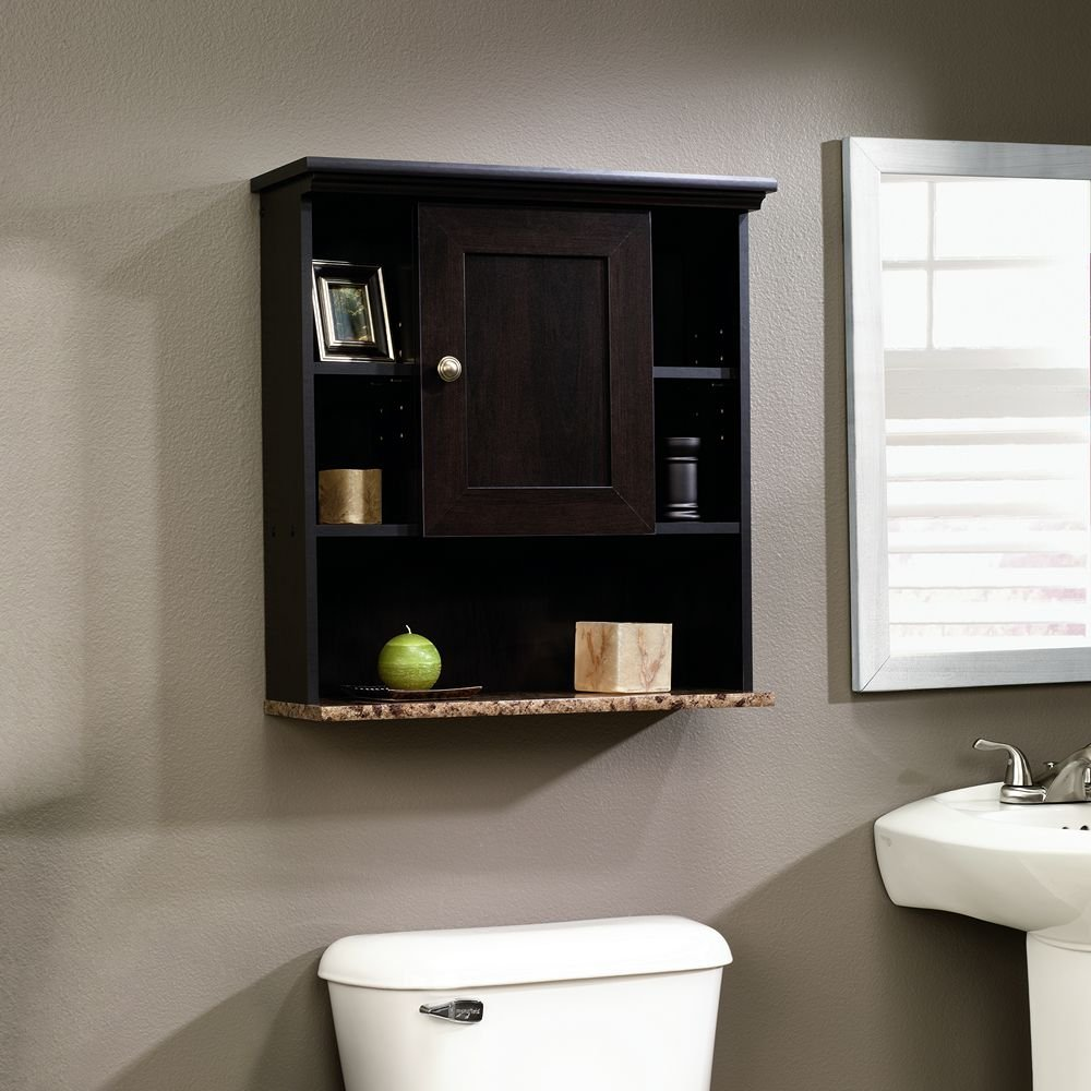 Bathroom storage wall cabinets - Amazon Com Sauder Wall Cabinet Cinnamon Cherry Finish Kitchen Dining