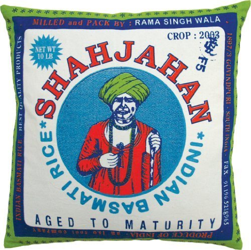 Koko Rice Shajahan Print Cotton Pillow, 20 by 20-Inch, Blue/Red ()