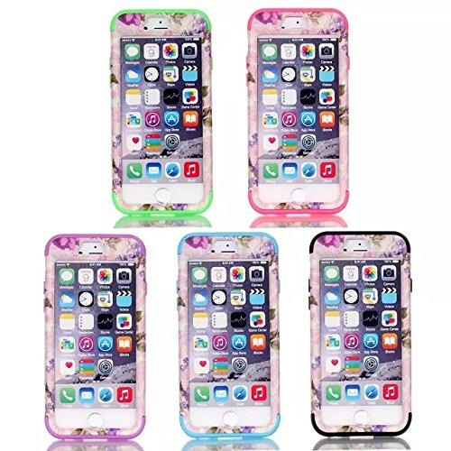 iPhone 6s hülle, iPhone 6 hülle, Lantier Hybrid Heavy Duty Rugged Hard Case mit harter PC + Innen Silikon Shell Shockproof Abdeckung für Apple iPhone 6 / 6S 4,7 Zoll (Purple Flower / Grün)