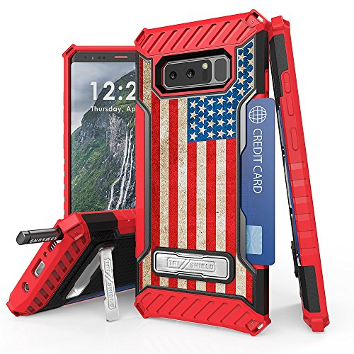 Galaxy Note 8 Case, Trishield Durable Shockproof High Impact Rugged Armor Phone Cover With Detachable Lanyard Loop Card Slot Built In Kickstand For Note 8 - American Flag