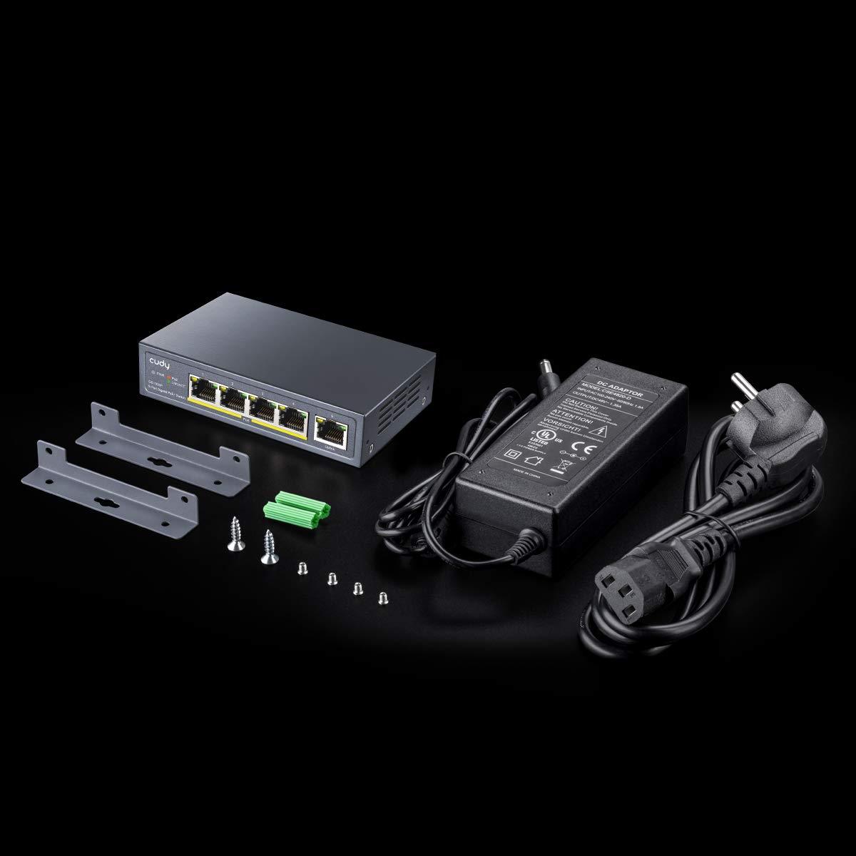 Cudy GS1005P Switch Ethernet Gigabit 5 Porte Poe+ 60W 802.3af//at No Alimentazione Aggiuntiva 4 Porte 10//100//1000Mbps Poe+ Switch Unmanaged