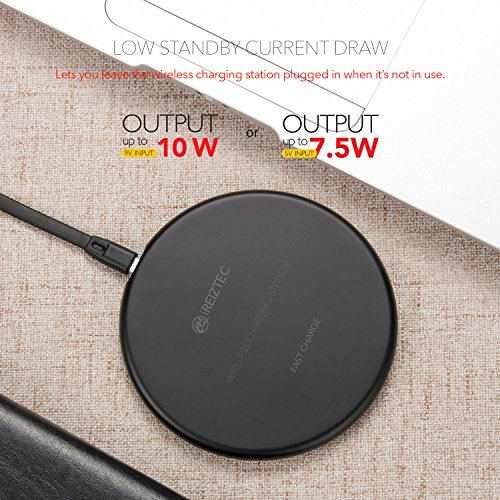 iREIZTEC Wireless Charger Pad, 7.5W Fast Wireless Charger for iPhone X 8 8 plus, 10W Fast Wireless Charger for Galaxy S9 S8 S7 S6 Edge Plus Note 8, and other Qi-enabled devices, no AC Adapter (black) by iREIZTEC (Image #4)