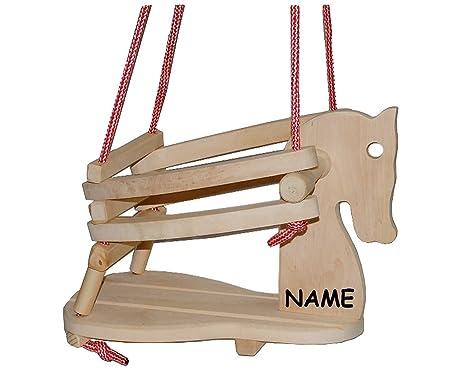 Unbekannt Gitterschaukel Aus Holz Pferd Incl Name Babyschaukel