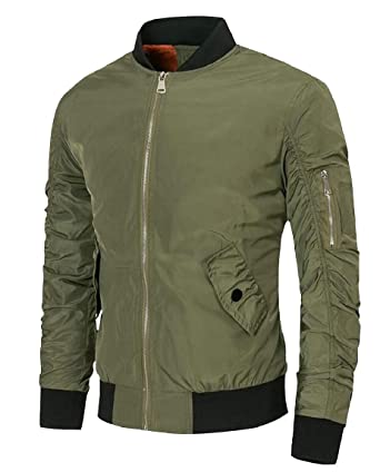19023318a HTOOHTOOH Men's Flight Jacket Bomber Jackets Zip up Coat Windproof ...