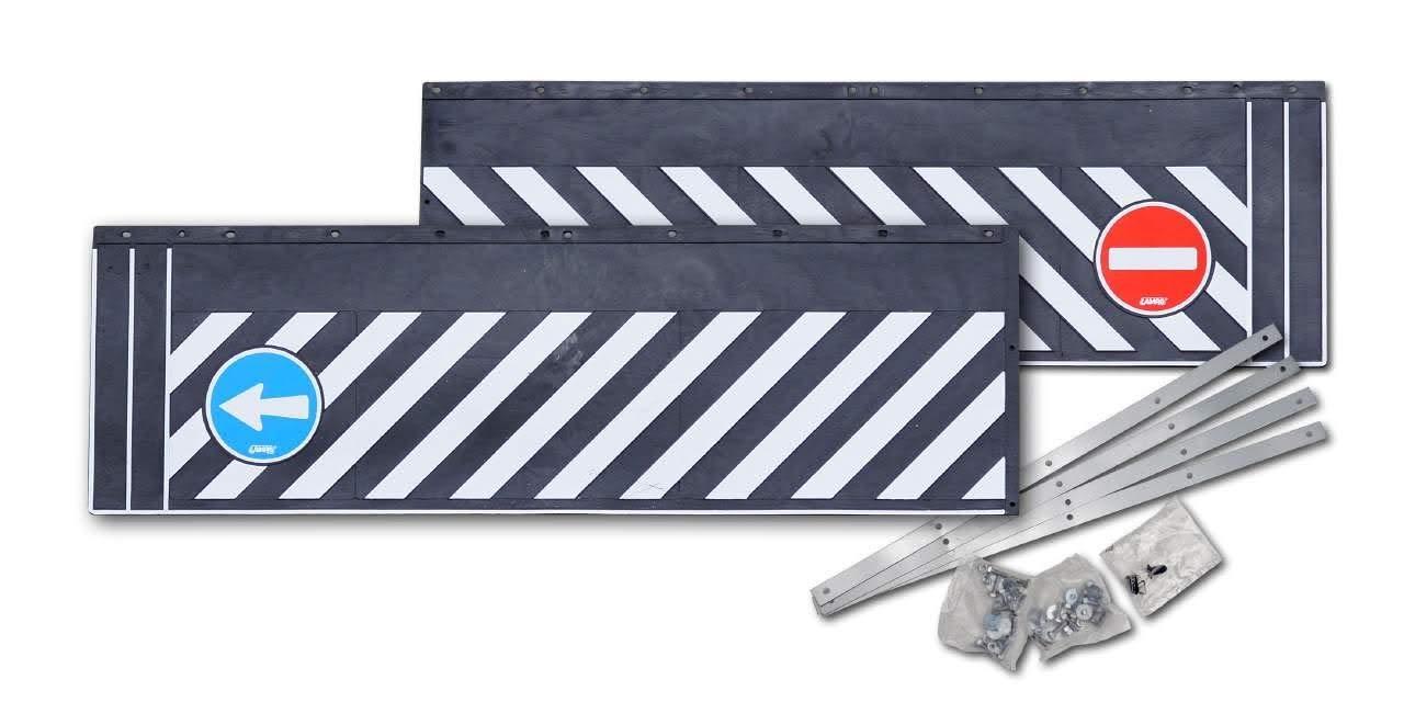 LKW-Heckschü rze/Schmutzfä ngerleiste'Einbahnstraß e' (aus Hartgummi) - Extra schwere Ausfü hrung - 240x38 cm - 2teilig mit Befestigungsschienen. Hansen Styling Parts