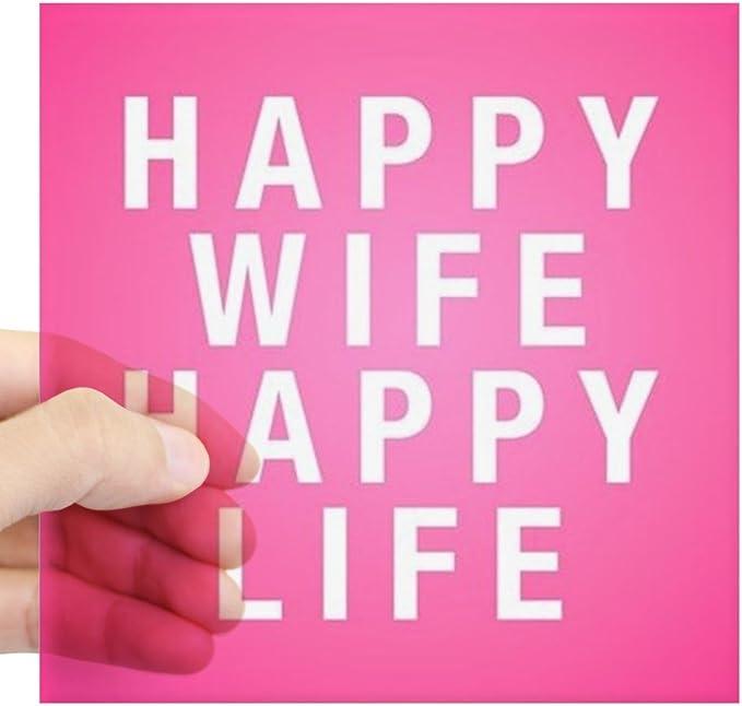 "/""HAPPY WIFE = HAPPY LIFE/"" Vinyl Decal Sticker Car Window Bumper Funny Gag Gift"
