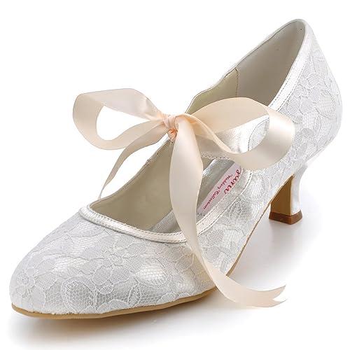 65cb8b2637a0 ElegantPark A3039-2 Women Dress Pumps Round Toe Mary-Janes Mid Heel Satin  Lace