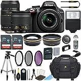 Nikon D3300 24.2 MP DSLR Camera (Black) w/AF-P DX NIKKOR 18-55mm f/3.5-5.6G VR Lens & Tamron 70-300mm f/4-5.6 Di LD Lens Bundle includes 64GB Memory + Filters + Deluxe Bag + Accessories