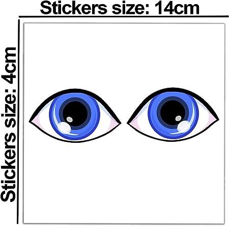 2 x Adesivi Vinile Stickers Occhi Blu Specchietti Per Auto Moto Finestre Porta Casco Scooter Bici Motociclo Tuning B 79