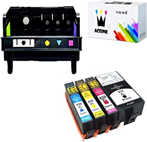 AceInk 1 Packs 4-Slot HP920 Printhead + 4 Packs HP920XL Ink Cartridges with Latest Chip Compatible for HP 920 Work with HP Officejet 6500 6000 7000 7500 6500A 7500A Printer