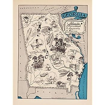 Amazon.com: Vintage Georgia State Map 1930s Blue Cartoon Map of ...