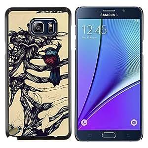 LECELL--Funda protectora / Cubierta / Piel For Samsung Galaxy Note 5 5th N9200 -- Pájaro Retrato a lápiz Huesos Esqueleto --