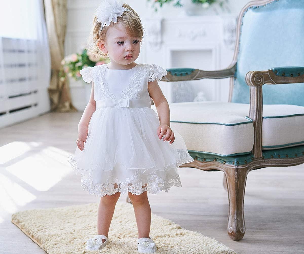 AHAHA Taufkleid Baby m/ädchen Prinzessin Hochzeit Spitze Stickerei Blume Kleid