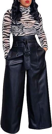 سروال LKOUS نسائي مصنوع من جلد البولي يوريثان عالي الخصر بتصميم صالة رفيعة من الجلد مع حزام مقاس إضافي