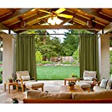 cololeaf Outdoor Patio Curtain Water Resistant - Pinch Pleated For Track or Traverse Rod with Ring,at Front Porch, Pergola, Cabana, Patio, Gazebo, Dock,84 Wide by 96-inch Long - Olive (1 Panel)