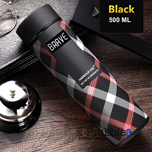 Frabble8 Double Wall Vacuum Insulated Stainless Steel Water Bottle, Travel Thermos Flask- 500 ML (Midnight Black- Brave) Price & Reviews