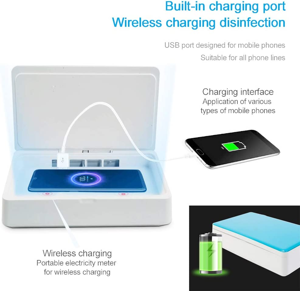 AGKupel Phone Sterilizer Box 3-in-1 Function Smartphone Sanitizer with UV Sanitizer and Wireless Charger for iOS Android Phone and Aroma Diffuser Function