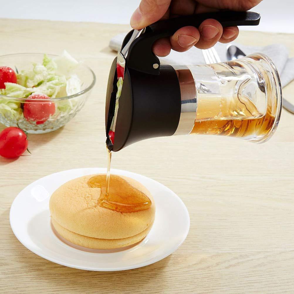 BESTONZON Jarabe de miel Botella para verter Acero inoxidable Condimento Almacenamiento de aceite Bote Suministros de cocina