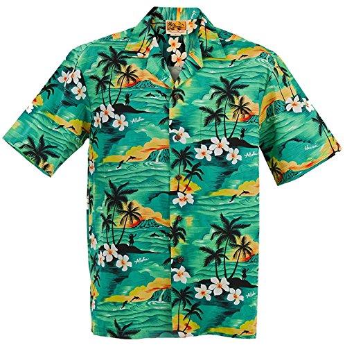 (SUNSET ALLOVER) WinnieFashion Hawaiian (100% cotton) Aloha Shirtin GREEN (L)
