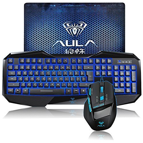 DEATH WINGS AULA SHZ Gaming Keyboard and Mouse - Wireless Gaming Keyboard Blue