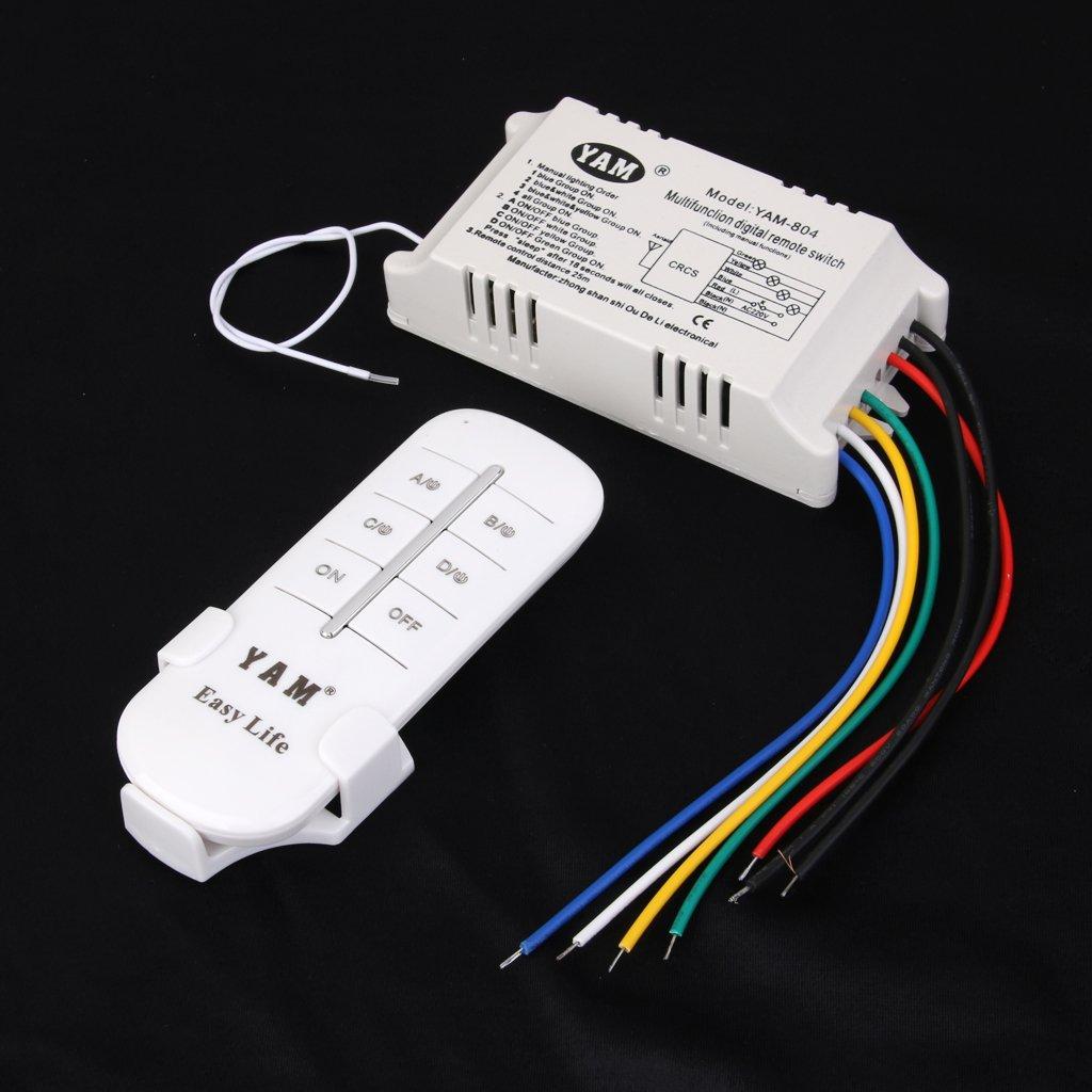 ON//OFF 4-canaux Interrupteur de Lumi/ère sans Fil Num/érique avec T/él/écommande 220V-240V