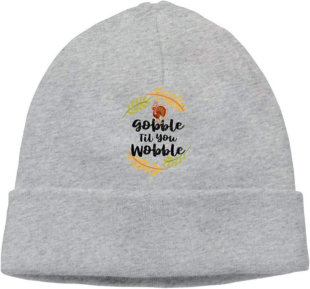 Oopp Jfhg Thanksgiving Gobble Til You Wobble Beanies Knit Hats Ski Caps Mens