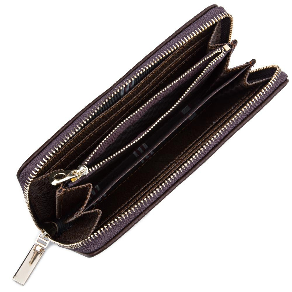 XXIAZHI,Hombres tejen Plaid letra cremallera embrague cartera portátil(color:CAFÉ,size:VERTICAL): Amazon.es: Ropa y accesorios