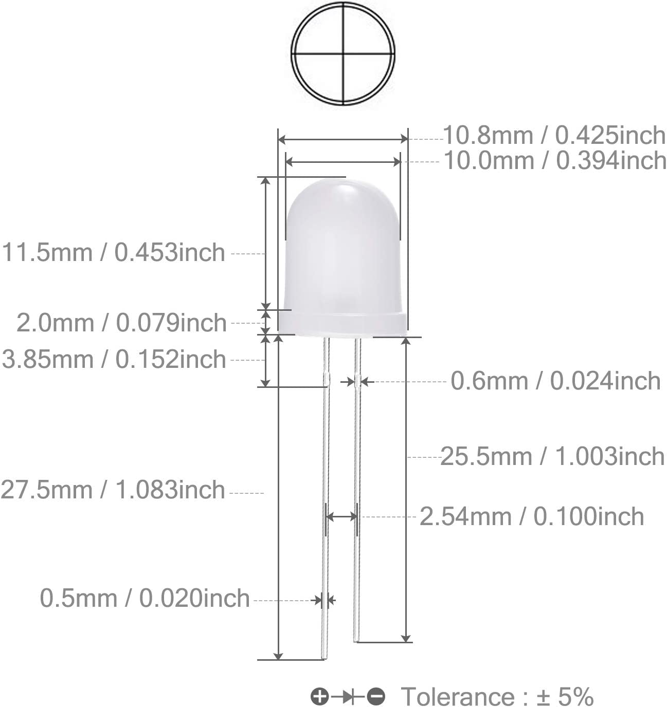 50 X Amarillo 5 mm Flat Top Cilindro Led Transparente Lente