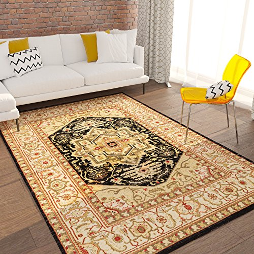 - Home Way Turkish Antique Royalty Design Traditional Medallion Black Carpet Eclectic for Modern and Classic Interiors Oriental 8x10 [ 7'10