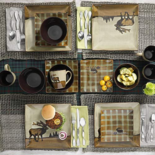 16 Piece Roaming Elk Stoneware Dinnerware Set w/ Mugs, Plates & Bowls. PERFECT FOR ANY CABIN ON SALE NOW by Better Home and Gardens (Image #2)